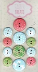 12 Wooden Buttons Easter Me To You Teddy Bear